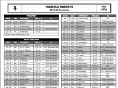 Houston Rockets 2018-2019 Basketball Schedule