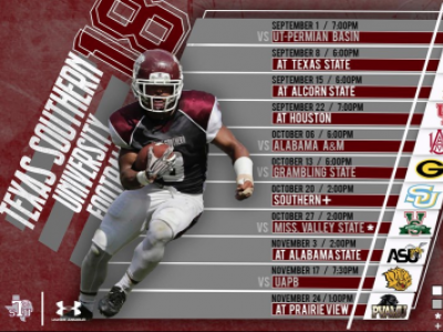 2018 Texas Southern Football Schedule